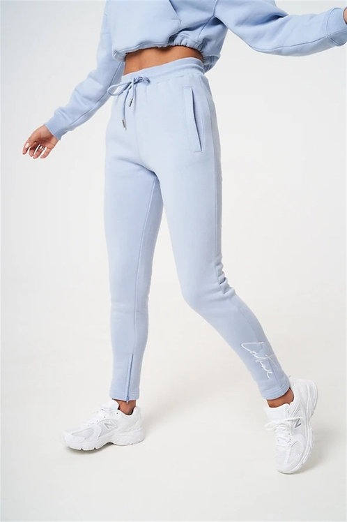 Embroidered Hem Zippered Sweatpants Jogger Blue Light
