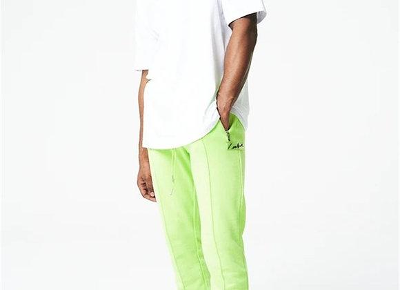 Zipped Pocket Zippered Jogger Sweatpants Neon-Green