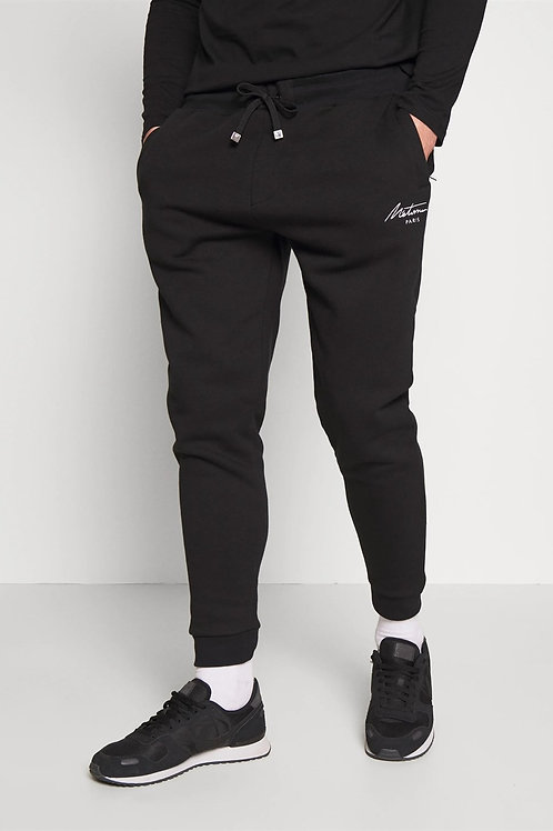 Basic Jogger Pants Black-Coated