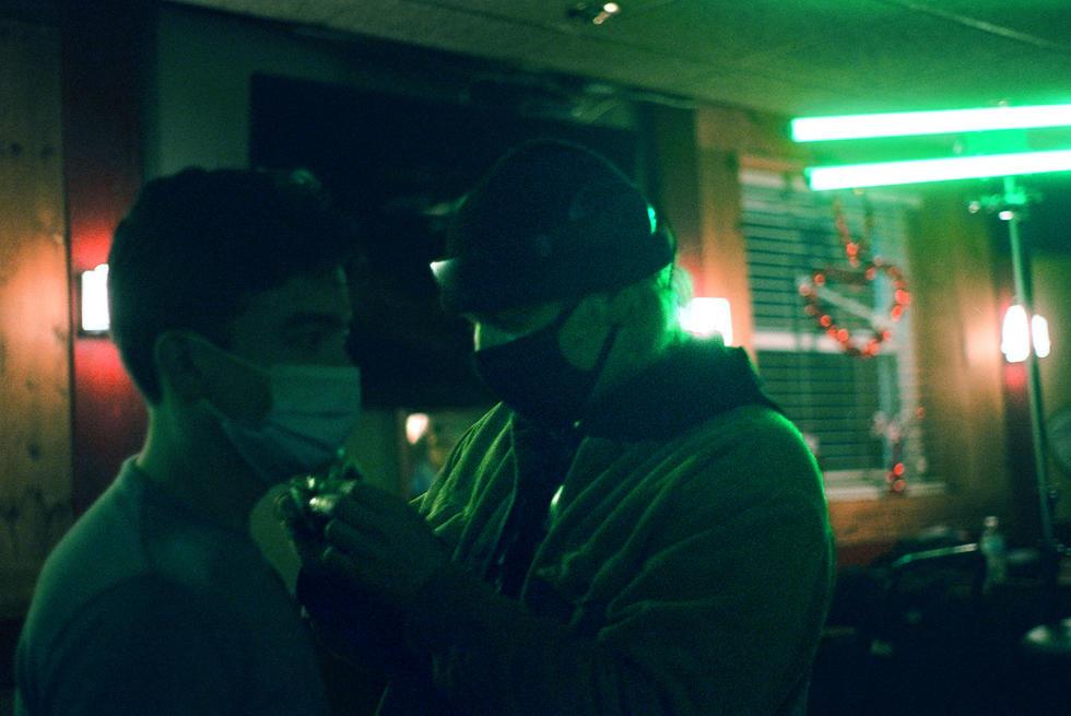 actor Elijah McNally and sound engineer Noah Ningen at Bogie's Bar