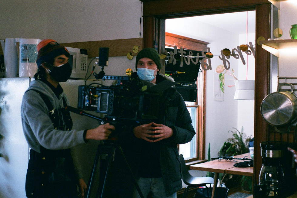 "director of photography Nihal Dantluri and producer Dillon Orth on set of ""Girl's House"""
