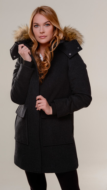 Italian Wool A-Line With Oversize Fur Hood