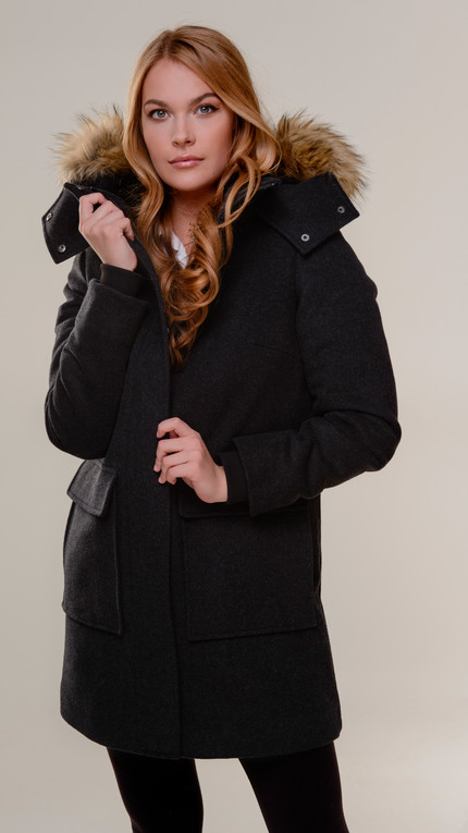 Italian Wool A-Line With Oversize Fur Hood