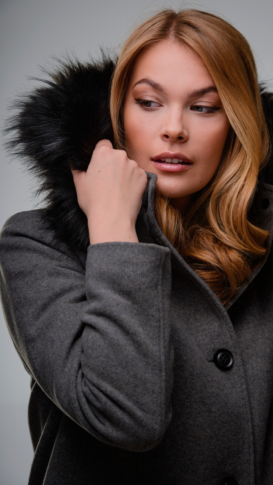 Faux Fur Trimmed Italian Wool