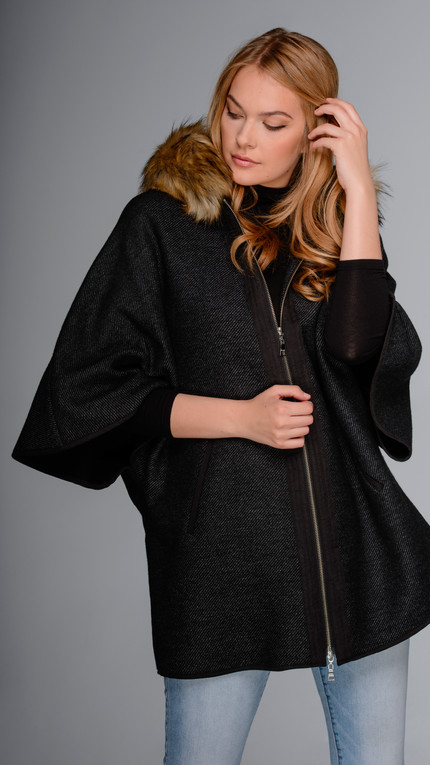 Modern Italian Wool Cape with Detachable Faux Fur