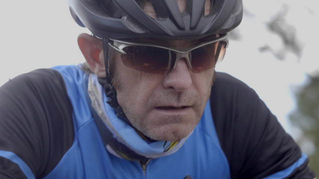 Mike Gallagher, riding with a brain tumo