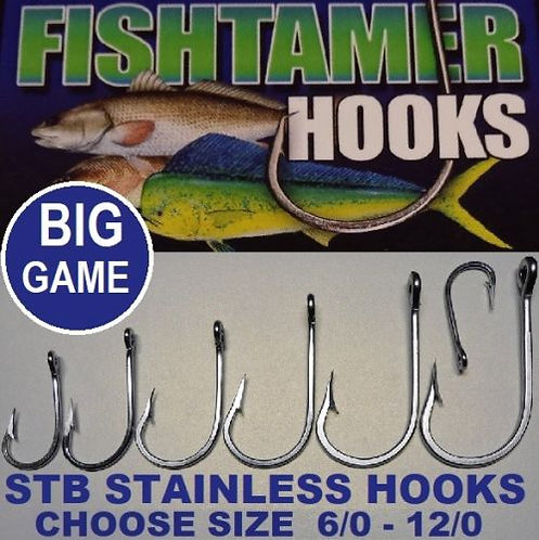 2pk STB Fishing Hooks - FISH TAMER Stainless Steel Strong Saltwater Hook