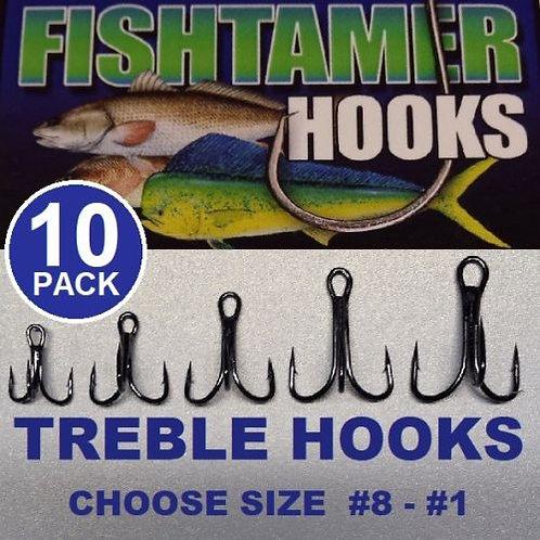 10pk 3X Treble Hooks FISH TAMER Pro Pack - Super Sharp