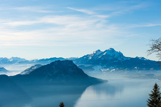스위스 루체른 리기산 올라가는길, 비츠나우, 리기산 산악열차
