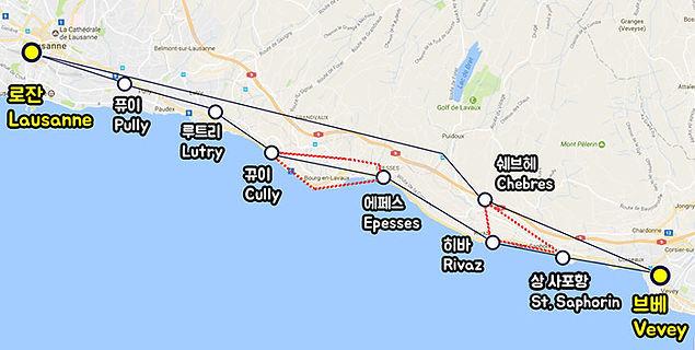 스위스 로잔 브베 라보 Lavaux 지도 맵