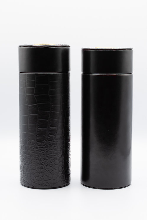 Black Leather Cylinder Cigar Case