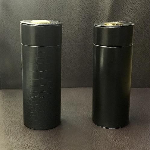 Black Leather Cylinder Cigar Case