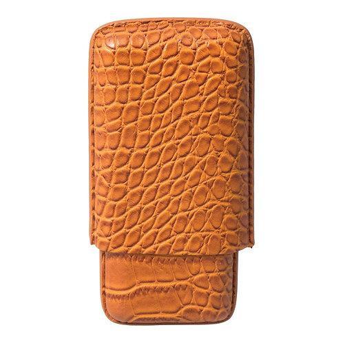 Cognac Leather Crocodile Case