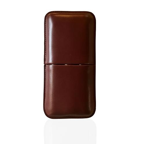 Burgundy Leather 3-Finger Cigar Case