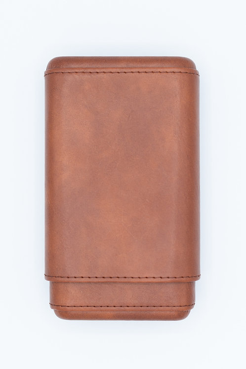 Cognac Leather 3-Finger Cigar Case