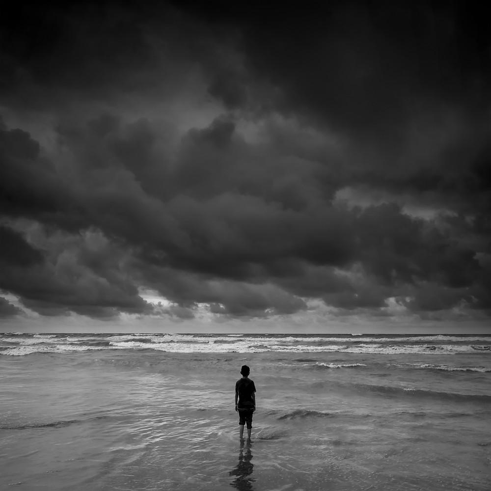 boy, alone, storm