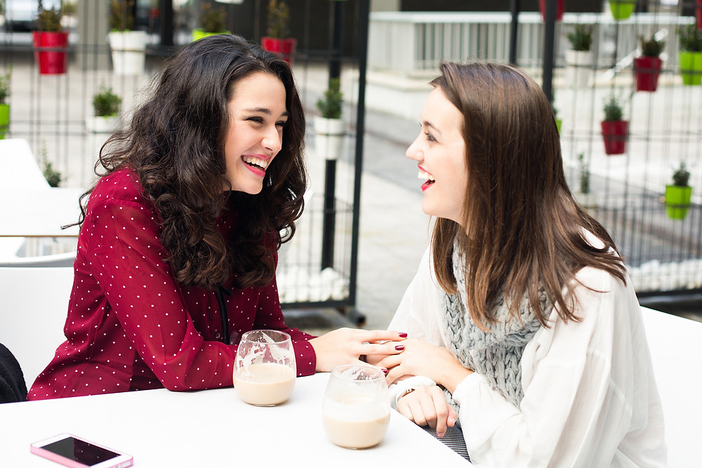 friends, laughing, women, coffee