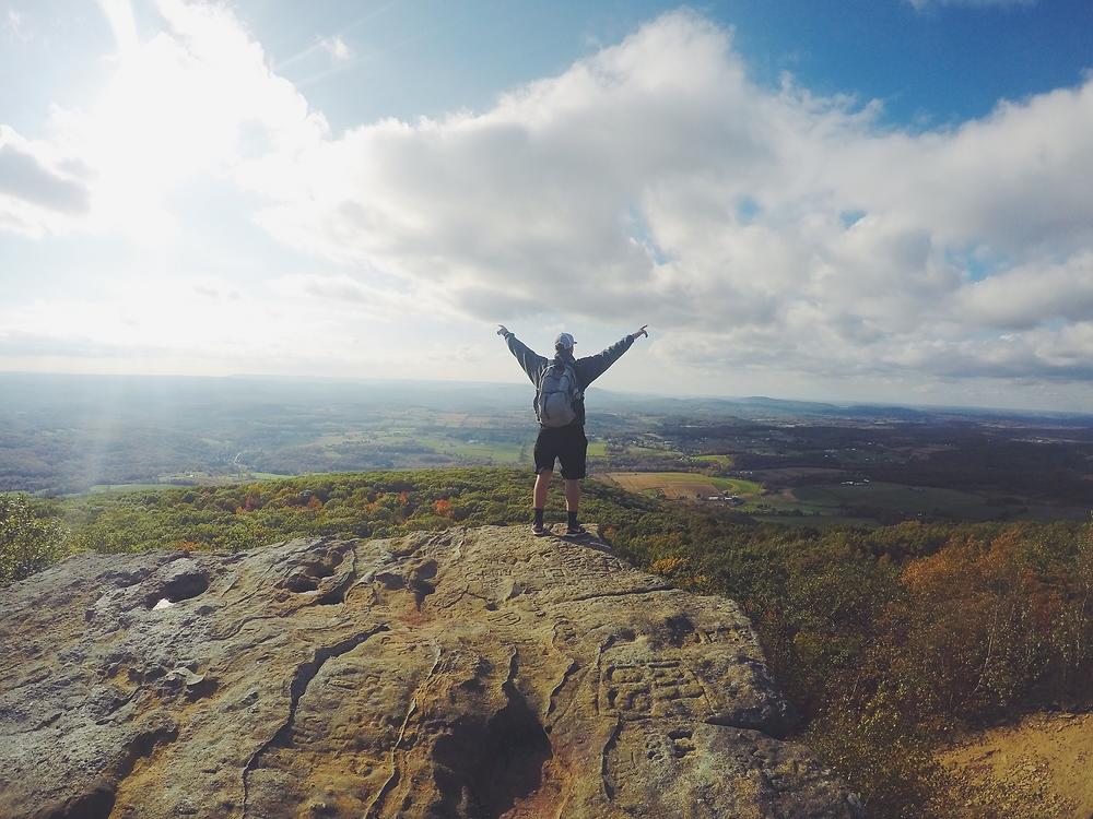 hiker, mountains, triumph, pixabay