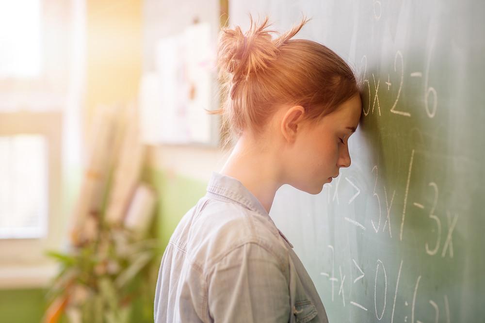 anxious girl, teenage girl, math, gifted