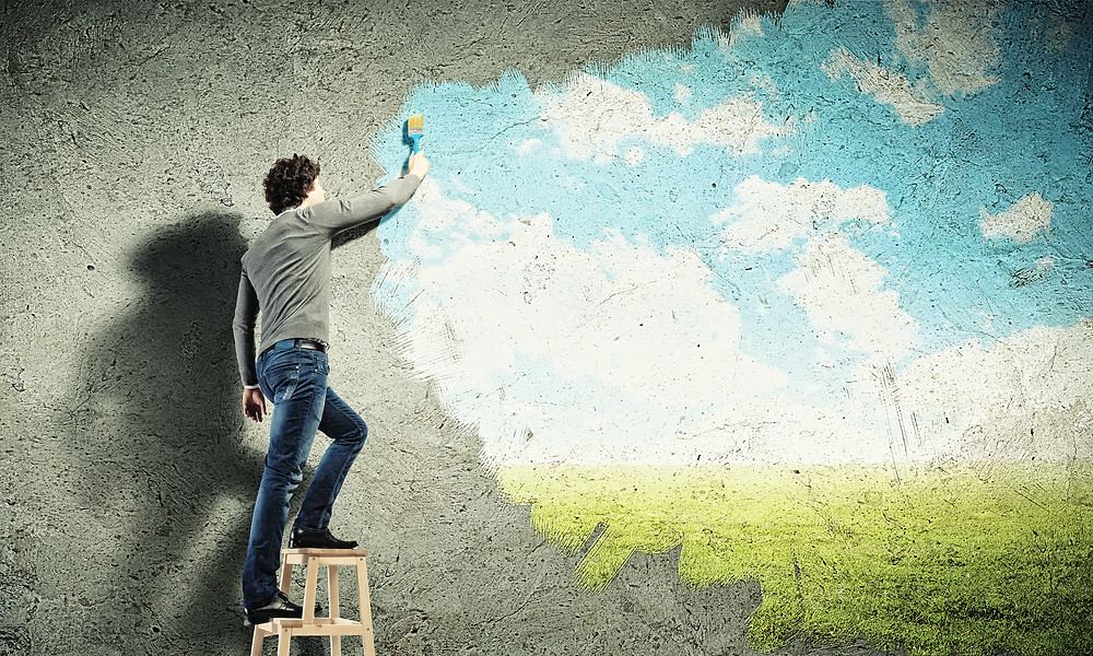 painting, clouds, future