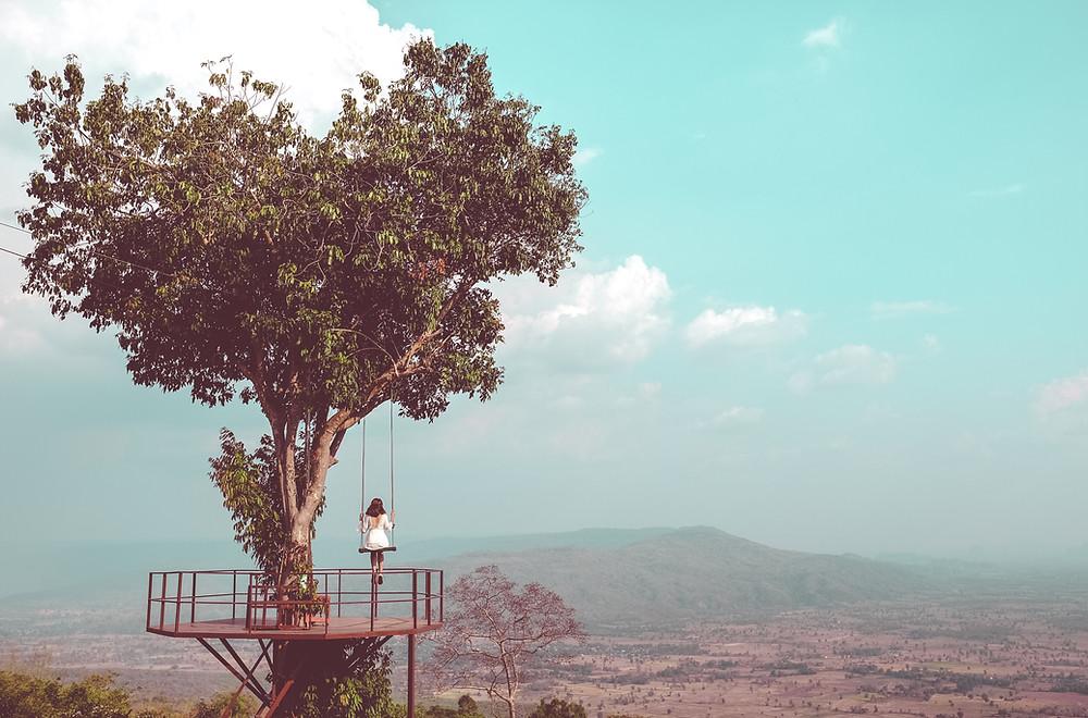 lonely, tree, alone, swing