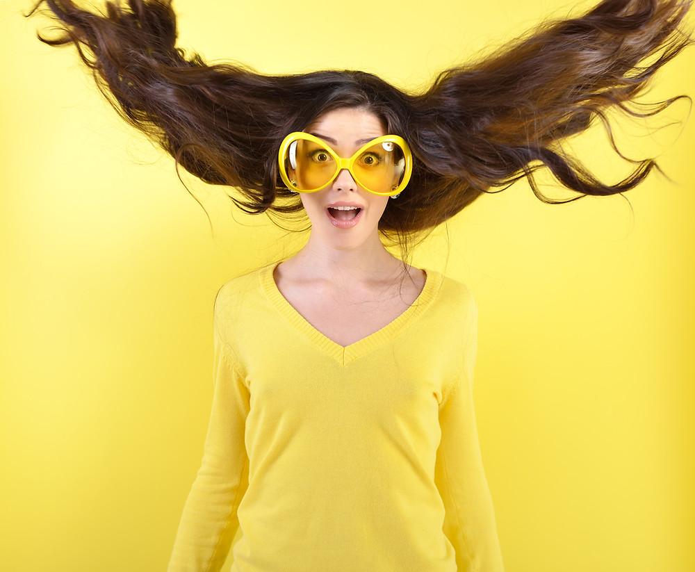 Yellow, happy woman, sunglasses