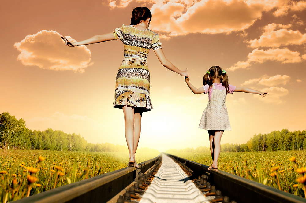 balance, mother and daughter, train track