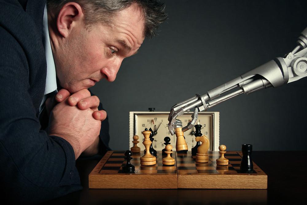 chess, smart man, robot playing chess