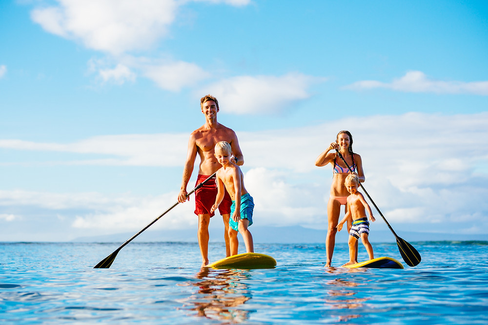 paddle boarding, family, fun, summer