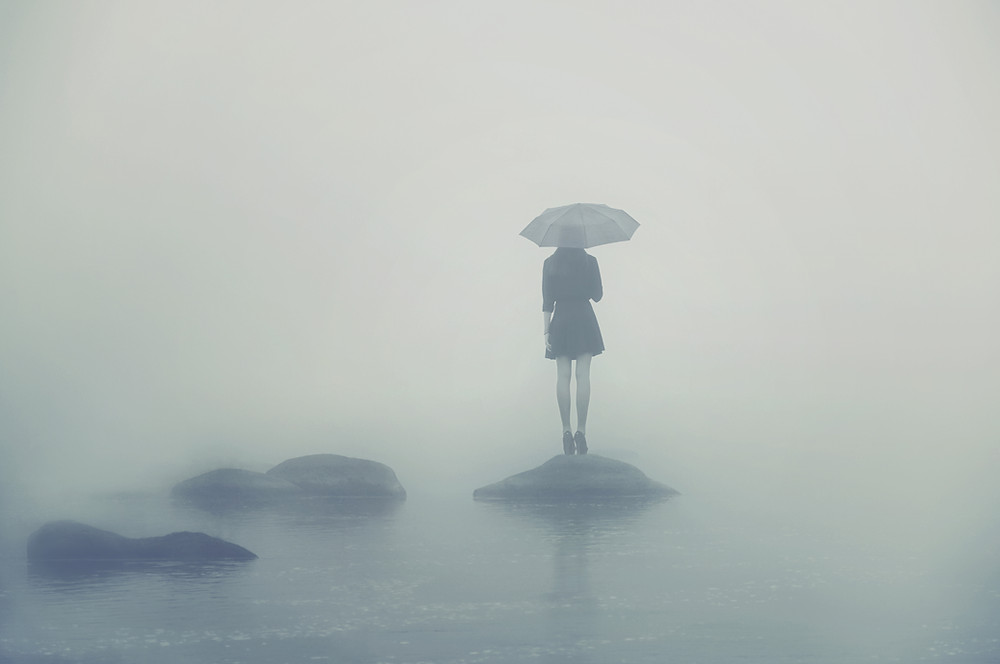 lonely girl, rain, island