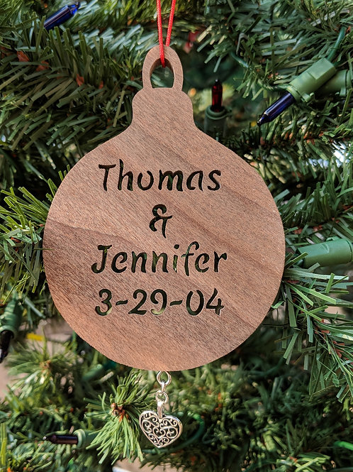 Wedding Date & Names Ornament