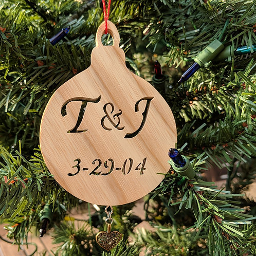 Initials and Date Wedding Ornament