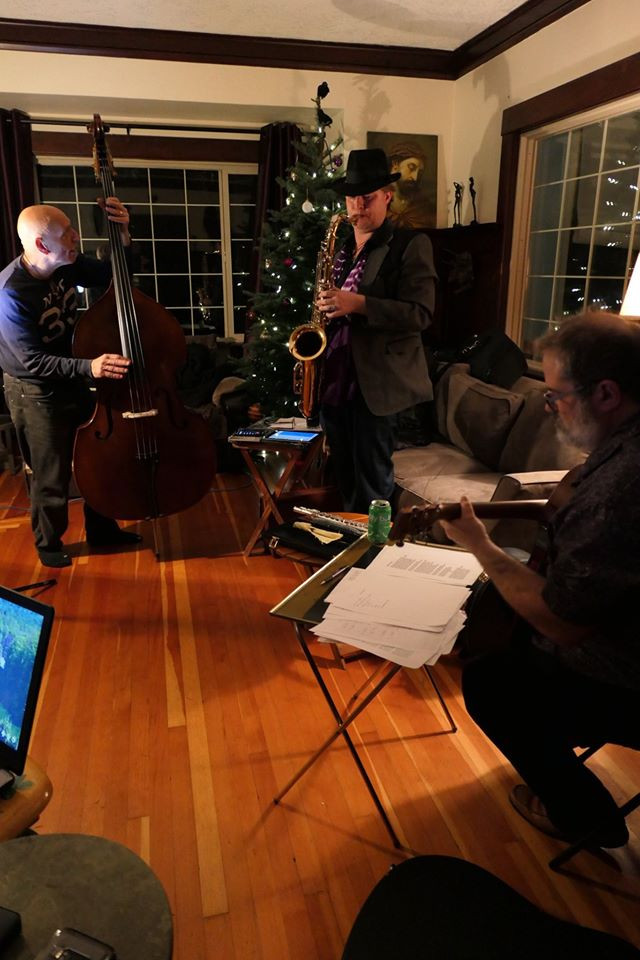 Lonnie Glass, Alex Ling & Richard Leon Gauthier rehearsing for Bell's New Year's performance.
