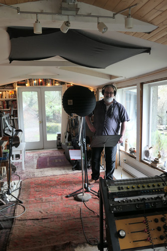 Richard Leon Gauthier tracking vocals in the worlds biggest mic.