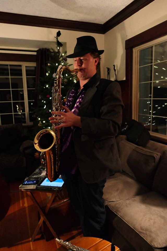 sax man, Alex, for the new year performance, rehearsing in the Creative Cathedral.