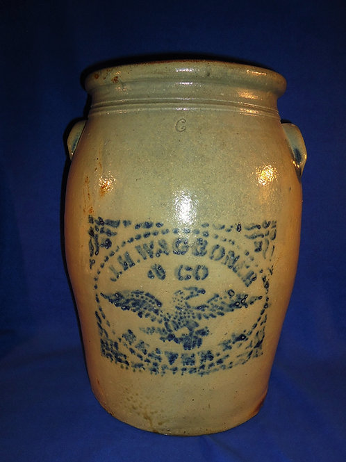 J. H. Waggoner, Beaver, PA 6 Gallon Stoneware Jar with Eagle, #4957