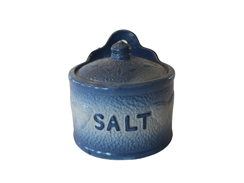 Blue Butterflies Salt Crock
