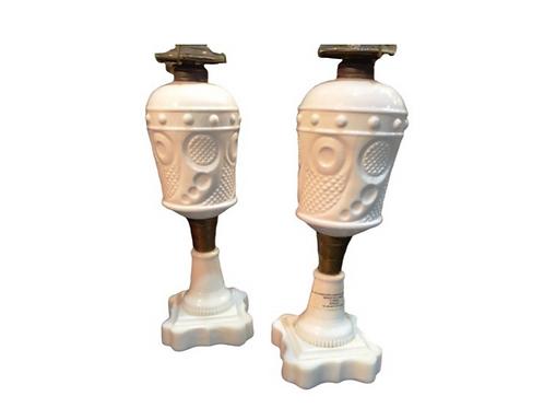 RARE PR.OF CORNUCOPIA SANDWICH GLASS WHALE OIL LAMPS