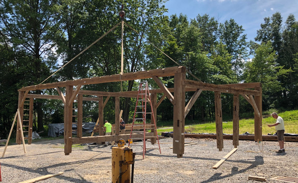 Timber frame barn project in Canfield, Ohio