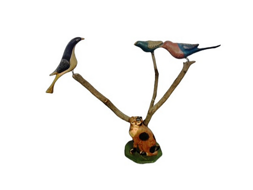 PENN.FOLK ART PAINTED TREE WITH THREE BIRDS