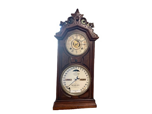 ITHACA 8 DAY CARVED TOP LIBRARY CALENDAR CLOCK