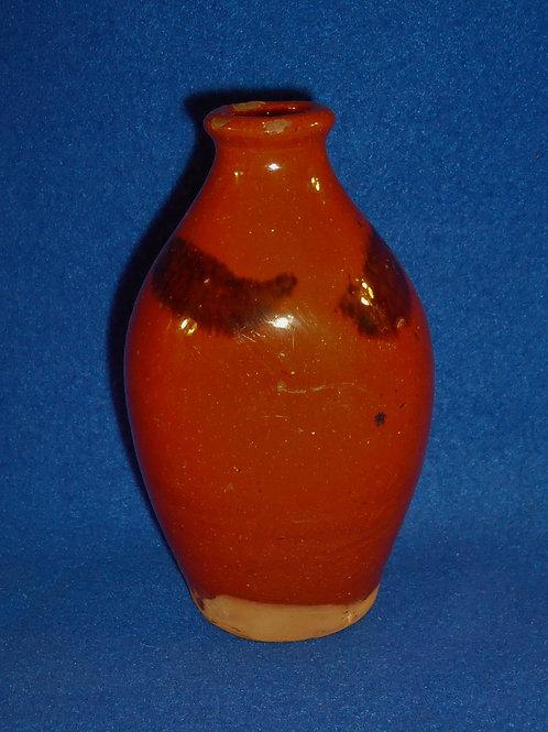 Circa 1840 Redware Flask with Manganese Daubs
