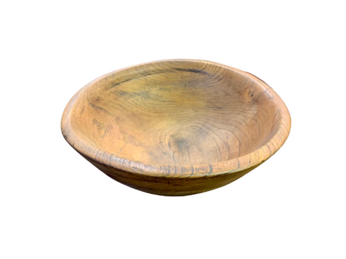 "Great turned ELM wood bowl 14 1/2"" x 5""  19th. century"
