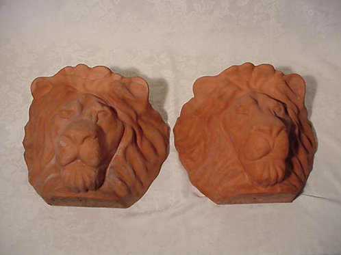 Pair of Terra Cotta Lions Heads Hanging Planters