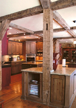 Kitchen remodel with barn wood beams