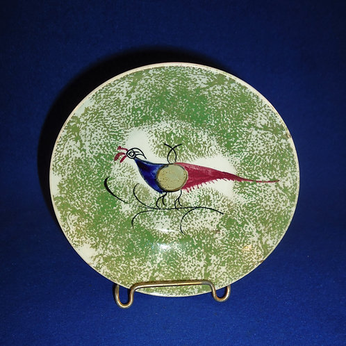 Green Spatterware Saucer with Center Peafowl in Blue, Gray, and Red #4622