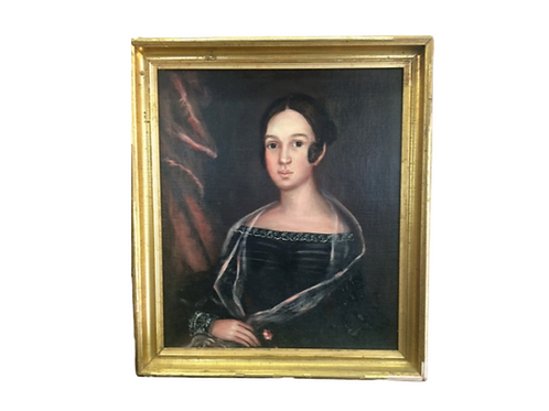 Oil painting on canvas of a young woman in a black dress