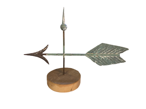 Copper and iron arrow weathervane