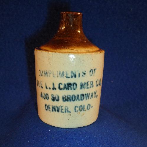 L. J. Card, Merchandise, Denver, Colorado Stoneware Mini Jug