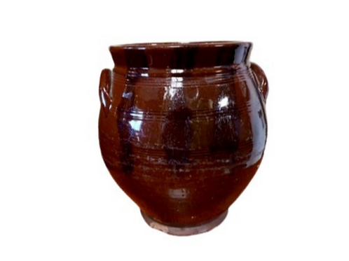 Redware ovoid jar with black  manganese 19th.